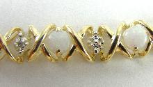 10K Bracelet Opal Diamond Accent Two-Tone Gold Xs & Os Pattern 8-1/4