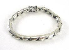 Sterling Silver Bracelet Men's Tongue And Groove Clasp Designer Chain 8-1/4 Inch