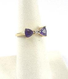 14k Yellow Gold Ring Amethyst Diamond Bowtie Design Prong Set Size 6-1/4