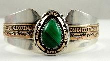 L. James Navajo Malachite Bezel Set Cabochon Teardrop 12K Yellow Gold Cuff