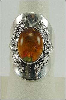 Sterling Silver Bezel Set Oval Cut Amber Cabochon Stone Flowers Leaves Large