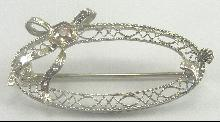Antique Edwardian 14K White Gold Filigree Diamond Bow Shell Pin Brooch
