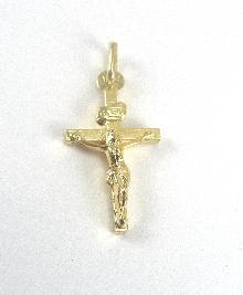 "18 Karat Yellow Gold Cross Pendant Corpus 1-1/8"" Long 1/2"" Wide Engraving"