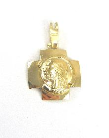 "18K Yellow Gold Cross Medal Greek Cross Head of Christ 1-1/8"" Long 3/4"