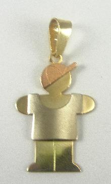 14K Rose Yellow White Gold Boy With Baseball Cap And T-shirt Pendant