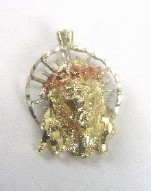 "14K Tri-tone Pendant Gold Head of Christ Yellow White & Rose Gold 7/8"" Long"