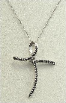 10K White Gold Black Diamond Cross Pendant Rope Chain Designer 18 Inch