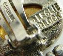 Vintage Leslie Block Sterling Dangle Earrings Clip On Vermeil Cameo Heart Leaf