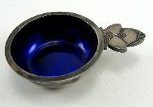 Vintage Georg Jensen Sterling Salt Cellar Cactus Pattern #30 Blue Enamel Liner