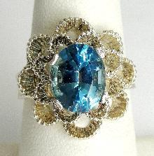 Sterling Silver Ring Open Flower Design Oval Cut Swiss Blue Topaz Prong Set