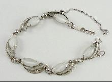 Sorrento Sterling Silver Bracelet White Fiber Optic Cat Eye Filigree 8-1/2