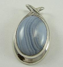 Designer Sterling Silver Pendant Blue Lace Agate Oval Cabochon Fancy Style Bail