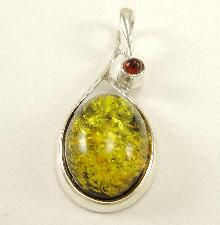 Sterling Silver Pendant Amber Green Baltic Honey Brown