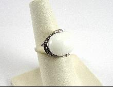 14K White Gold Ring White Chalcedony Burnt Orange Clear CZ Size 6 Fancy Setting
