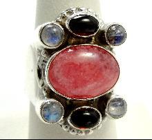 Sajen Sterling Silver Ring Coral Jasper Moonstone Garnet Size 7-1/4 Cabochon