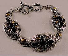 """18K Yellow Gold Sterling Silver Oval Links Amethyst Bracelet Toggle Clasp 8"""""""