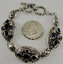 18K Yellow Gold Sterling Silver Oval Links Amethyst Bracelet Toggle Clasp 8""