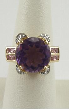 14K Yellow Gold Ring Amethyst Pink Topaz Diamond Brilliant Square Round Cuts