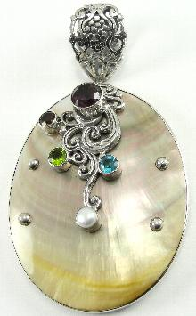 Sterling Mother Of Pearl Pendant Oversized Large Amethyst Peridot Topaz Quartz