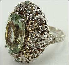 14K Gold Sterling Silver Ring Green Quartz Accent Solitaire Large Oval Sz 9.75