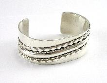 "Navajo TAHE Sterling Silver Cuff Bracelet Wide Opening 6-3/4"" Wrist Wide Band"