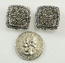 Sterling Silver Earrings Pave Marcasite Clip Back Non-pierced 7/8