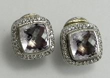 David Yurman Sterling Earrings Albion Collection Diamond Amethyst