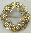 W.E. Richards Co Sterling Pin Brooch Symmetalic 14K Vermeil Flower Filigree