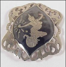 Sterling Silver Pin Niello Etched Thailand Goddess