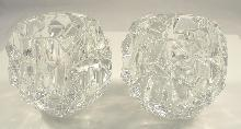 Authentic Tiffany & Co. Crystal Candle Holders Pair Rock Cut Estates