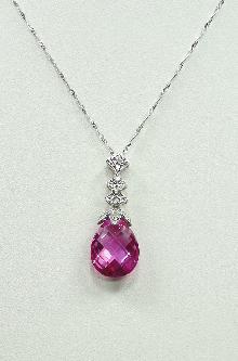 10K White Gold Raspberry Pink Topaz Diamond Necklace Pendant Briolette Cut 16