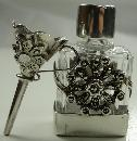 Vintage Ari D. Norman Sterling Silver Glass Perfume Bottle & Funnel Marcasites