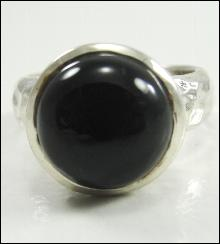 Sterling Silver Black Onyx Hammered Ring S Design Round Size 5.75 Estates Dome