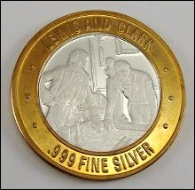 .999 Fine Silver Gaming Token Lewis and Clark 1-5/8
