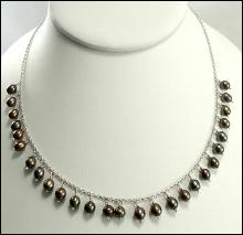 Sterling Silver Necklace Tahitian Brown and Black Pearls Drop Adjustable