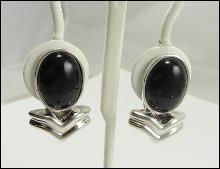 Sterling Silver Southwestern Earring Black Onyx Clip On
