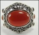 Sterling Silver Ring Carnelian Bead Accent Scrollwork 6