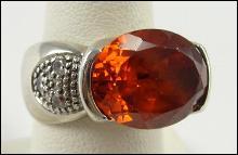 Sterling Silver Ring Quartz Orange CZs Accent