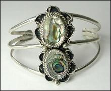 Sterling Bracelet Cuff Southwestern Navajo Abalone