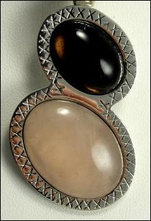 Sterling Silver Pendant Necklace Chalcedony Brown Pink