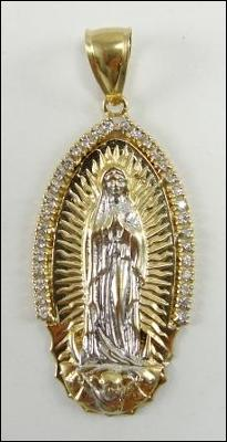 10K Gold Religious Medal Lady of Guadalupe CZ Accents