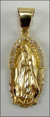 14K Gold Religious Medal Lady of Guadalupe CZ Accents