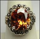 Sterling Silver Ring Quartz Orange Marcasite Size 7-3/4