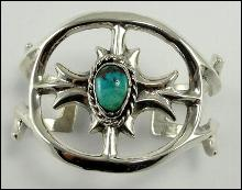 Sterling Silver Bracelet Cuff Southwestern Turquoise