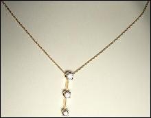 Three Diamond Pendant Necklace .37 CTW 14K Yellow Gold