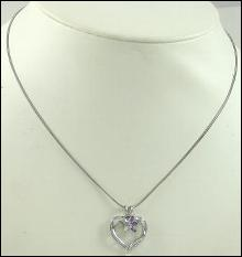 HEART PENDANT THREE MARQUISE AMETHYST NECKLACE STERLING