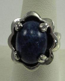 Sterling Silver Blue Lapis Cabochon Oval Ring Prong Set Size: 8 Israel