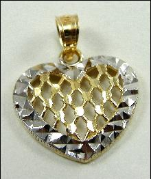 10K Yellow White Gold Puffed Heart Charm Pendant Sparkly Cut Filigree Hollow