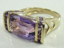 14K Yellow Gold Amethyst Ring Accent Diamond GCJ Designer Heart Size 7 Estate