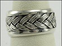 Sterling Silver Ring Band Woven Motif 3/8
